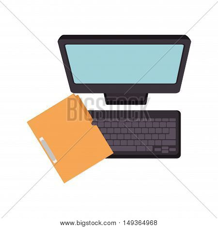 monitor and keyboard computer technology device and binder. vector illustrator