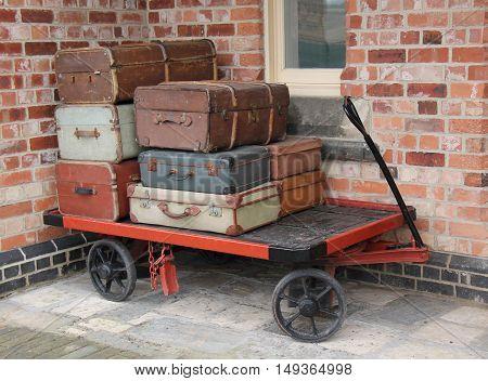An Old Style Railway Platform Luggage Trolley.
