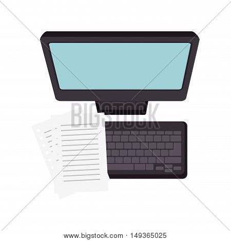 screen monitor computer technology device document pages. vector illustrator