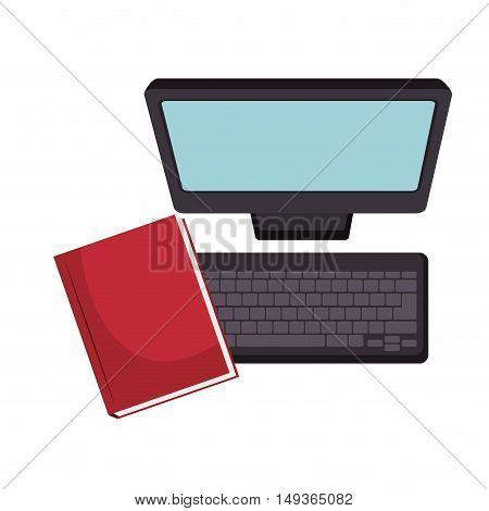 screen monitor computer technology device and red notebook. vector illustrator