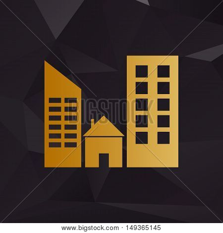Real Estate Sign. Golden Style On Background With Polygons.