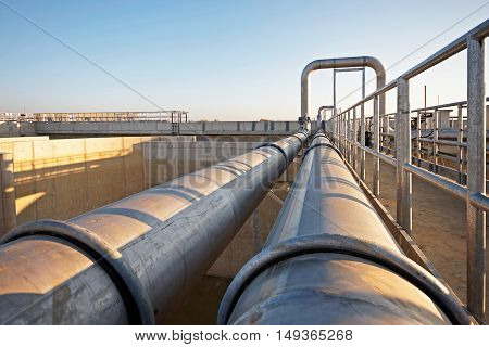 Pipeline part of the sewage treatment plant scene
