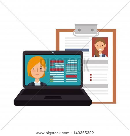 laptop computer with digital and document curriculum vitae woman profile. vector illustration