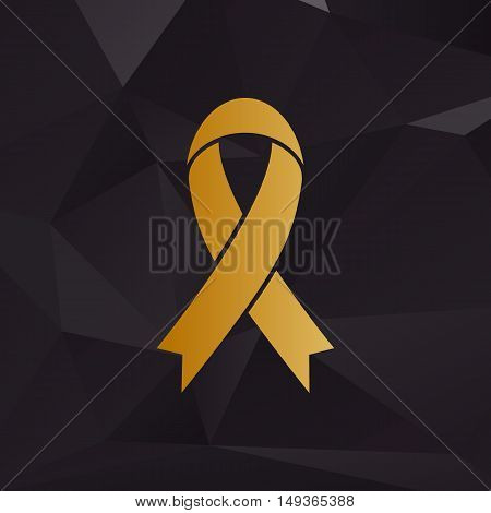 Black Awareness Ribbon Sign. Golden Style On Background With Polygons.