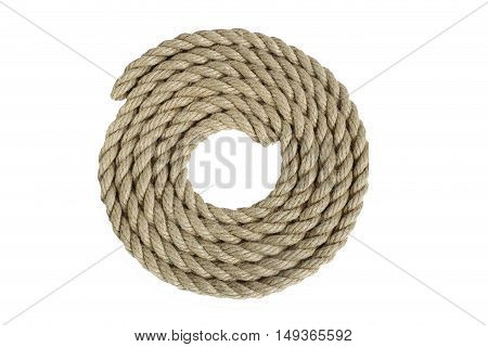 rope made of coarse hemp. are in coils, isolate on white background   without shadows. easy to cut for your project.