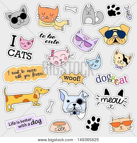 Fashion patch badges. Cat and dog set. Set of stickers, pins, patches and handwritten notes collection in cartoon 80s-90s comic style. Trend. Vector illustration isolated. Vector clip art.