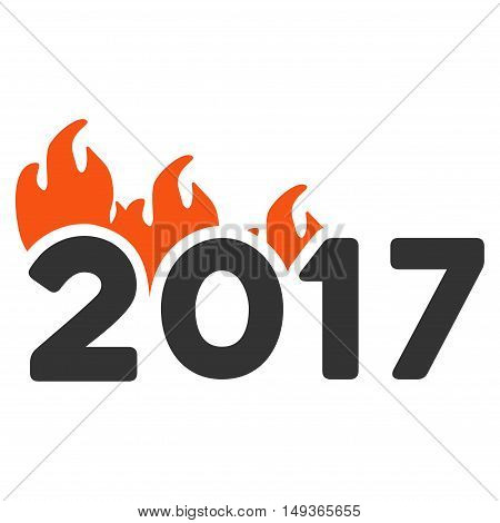 Fired 2017 Year icon. Glyph style is flat iconic symbol on a white background.