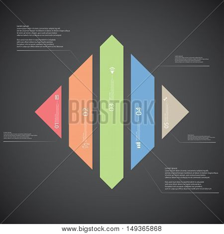 Rhombus Illustration Template Consists Of Five Color Parts On Dark Background