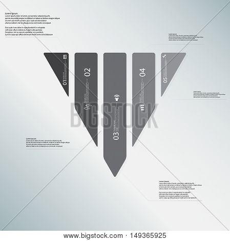 Triangle Illustration Template Consists Of Five Grey Parts On Light-blue Background