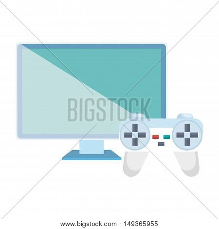 video game control and screen monitor computer technology device. vector illustrator