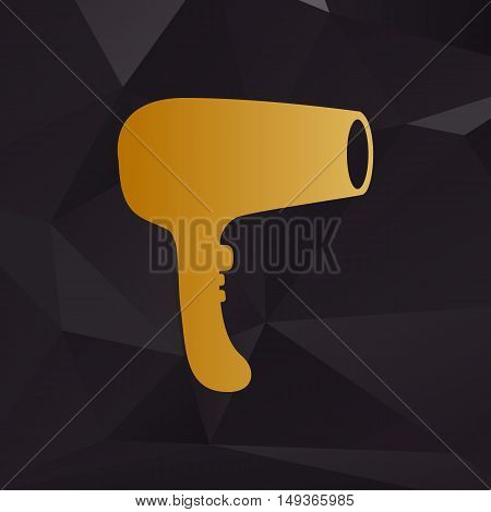 Hair Dryer Sign. Golden Style On Background With Polygons.