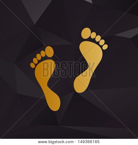 Foot Prints Sign. Golden Style On Background With Polygons.