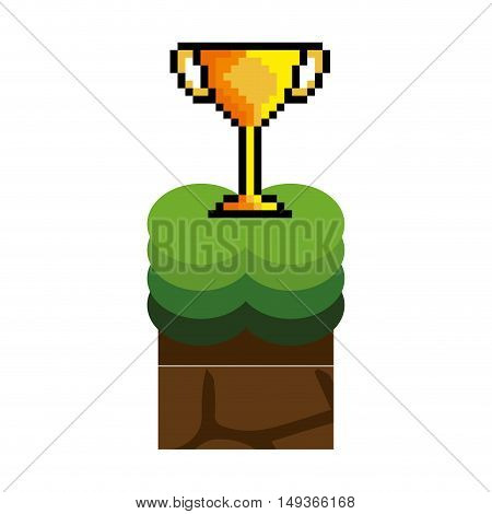 Texture for platformers pixel art raster. ground mud block with grass on top pattern video game and gold trophy winner design. vector illustration