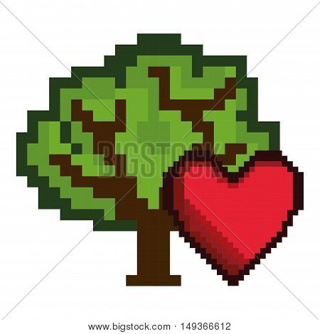 red heart shape and green tree video game pixel figure icon. vector illustration