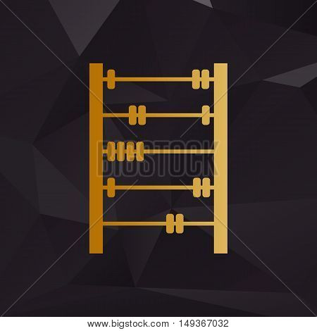 Retro Abacus Sign. Golden Style On Background With Polygons.