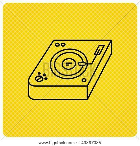 Club music icon. DJ track mixer sign. Vinyl mixing symbol. Linear icon on orange background. Vector