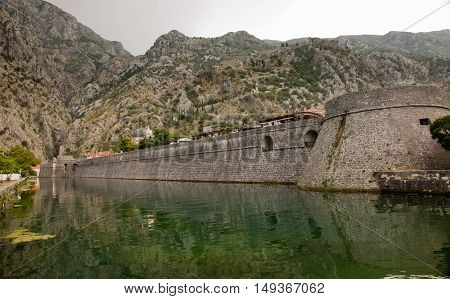 Kotor city, Montenegro. Tourists in the old town of Kotor