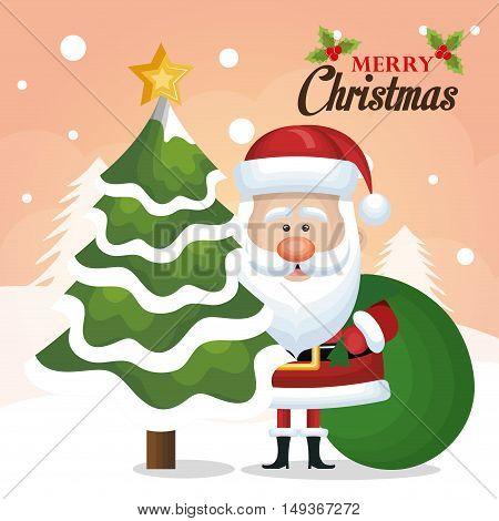 chrsitmas card santa claus tree and bag green design vector illustration eps 10
