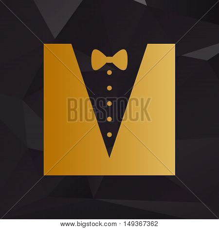 Tuxedo With Bow Silhouette. Golden Style On Background With Polygons.