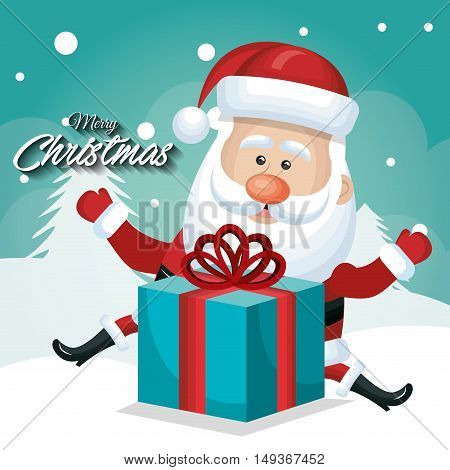 happy santa claus with big gift card merry christmas snow design vector illustration