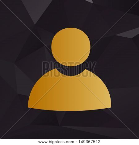 User Sign Illustration. Golden Style On Background With Polygons.