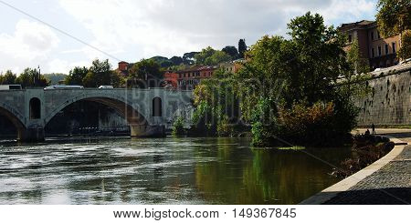 Tiber River And A Pasa Bridge In Rome. Aged Photo.
