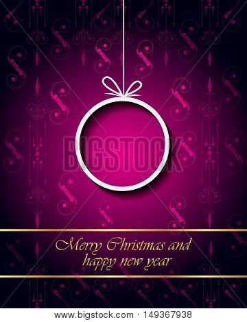 Merry Christmas and Happy New Year background for your invitations, festive posters, greetings cards.