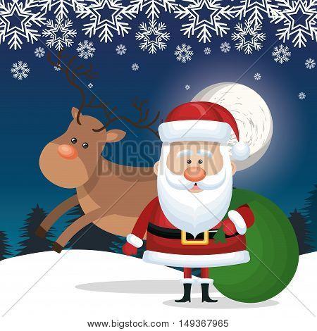 santa claus and bag gift reindeer landscape snowflake card vector illustration