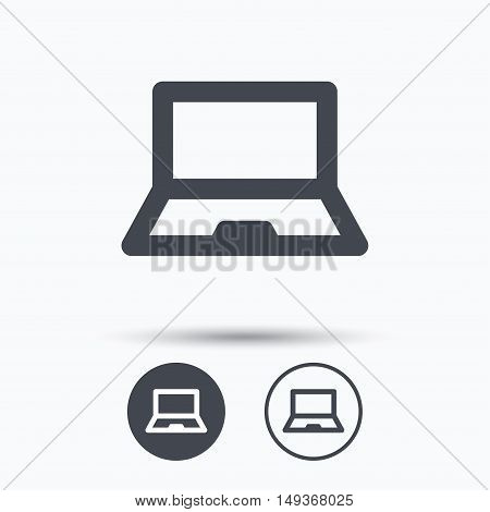Computer icon. Notebook or laptop pc symbol. Circle buttons with flat web icon on white background. Vector
