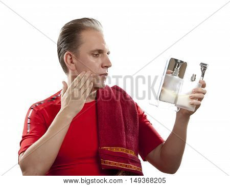 man has a shave with the razor