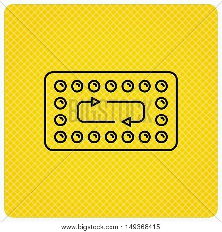 Contraception pills icon. Pharmacology drugs sign. Linear icon on orange background. Vector