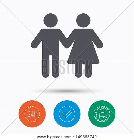 Couple icon. Traditional young family symbol. Check tick, 24 hours service and internet globe. Linear icons on white background. Vector