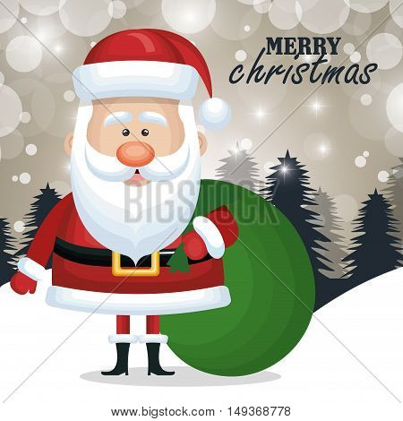 card christmas santa claus bag gift snow graphic vector illustration