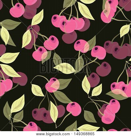 Seamless pattern with cherries on black background