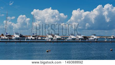 Varadero, Cuba - September 11, 2016: Sea fishing boat in the marina of Varadero Cuba