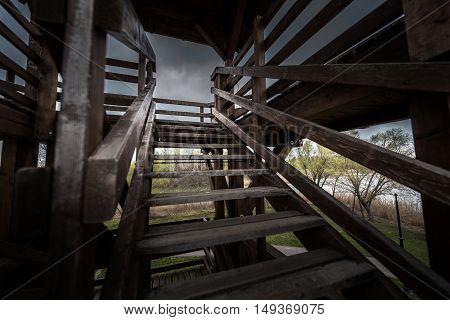 Woden staircase outdoors in some lookout tower