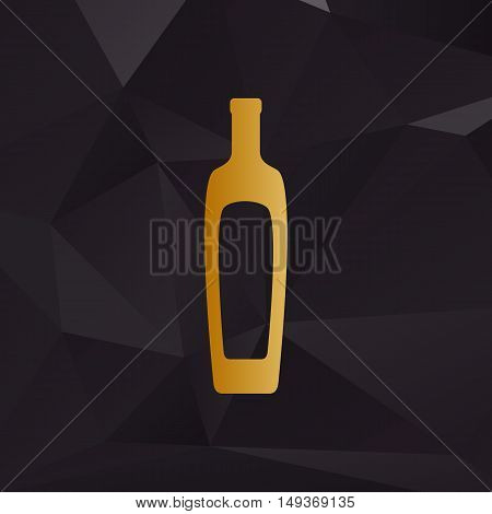 Olive Oil Bottle Sign. Golden Style On Background With Polygons.