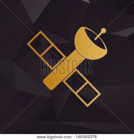 Satellite Sign Illustration. Golden Style On Background With Polygons.