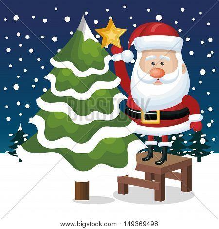 card santa claus tree star snowfall graphic vector illustration