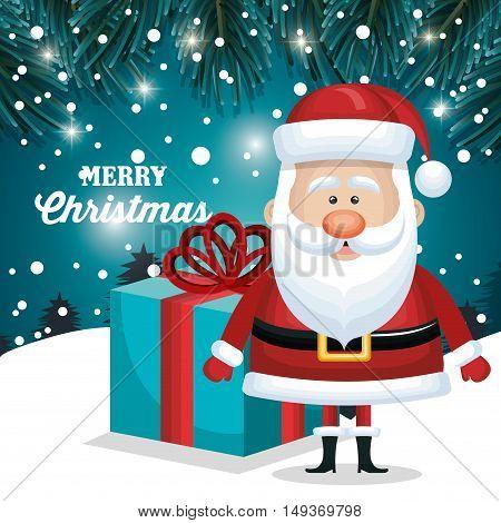 merry christmas santa claus and gift blue. snowfall landscape night design vector illustration