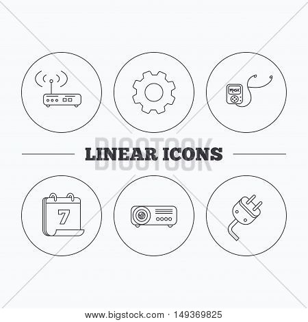 Electric plug, wi-fi router and projector icons. Music player linear sign. Flat cogwheel and calendar symbols. Linear icons in circle buttons. Vector