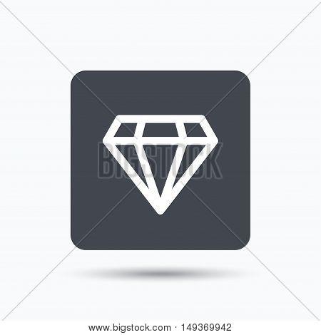 Diamond icon. Jewelry gem symbol. Brilliant jewel sign. Gray square button with flat web icon. Vector