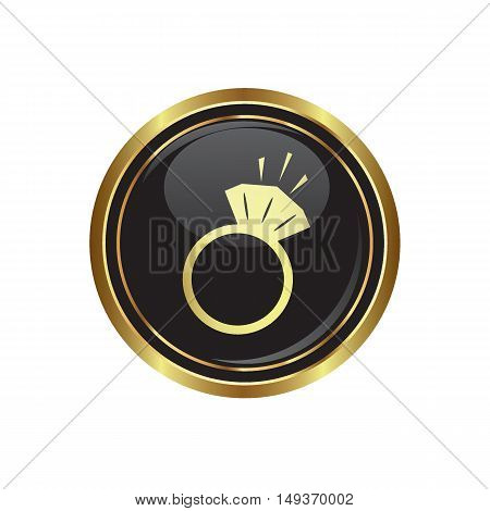 Ring icon on the button. Vector illustration