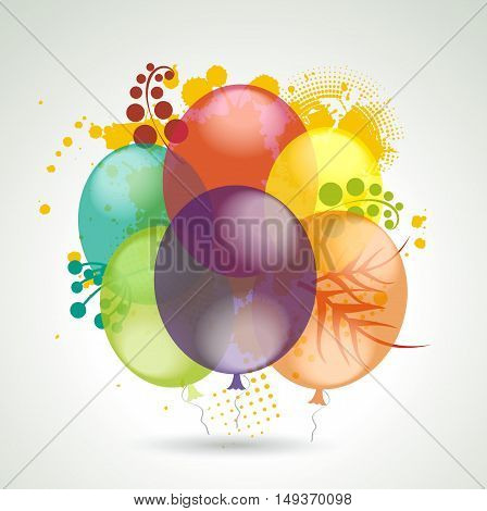 Realistic Balloons Flying With Plants For Party And Celebrations.
