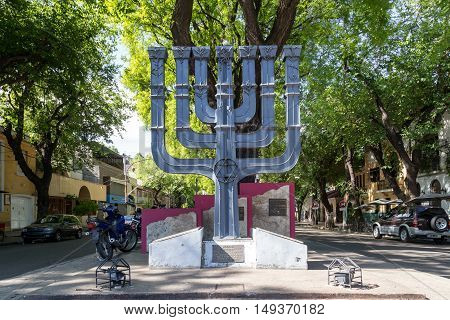 Mendoza, Argentina - November 22, 2015: A Menorah, a Jewish monument in the city center