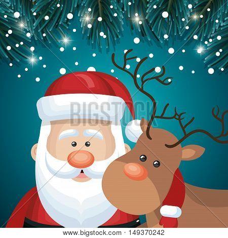 card santa and deer faces snowfall night design vector illustration