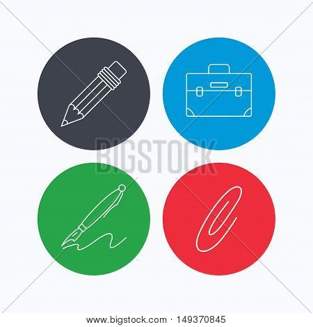 Briefcase, pencil and safety pin icons. Pen linear sign. Linear icons on colored buttons. Flat web symbols. Vector
