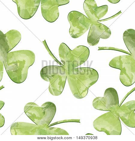 St. Patrick's Day Background. Leaves seamles vector watercolor pattern