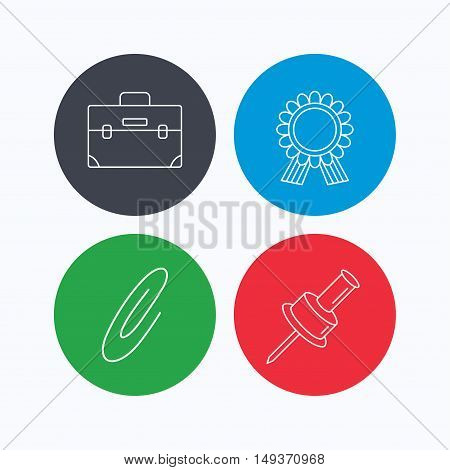 Award medal, pushpin and briefcase icons. Safety pin linear sign. Linear icons on colored buttons. Flat web symbols. Vector