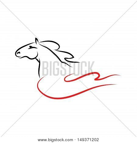 A horse with crane wing. The symbolic figure of stallion on a white background. Vector illustration of equestrian sign